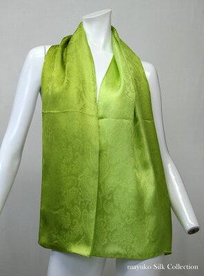 【登録商標・丹後ちりめん】シルクサテンの大判ロングスカーフ。数量限定の友禅手ぼかし染色品。丹後シルク100%,45cmx150cmギフトケースに入れてお届けします。カラー:パープル色からメロンイエローぼかし日本製/ギフト包装無料