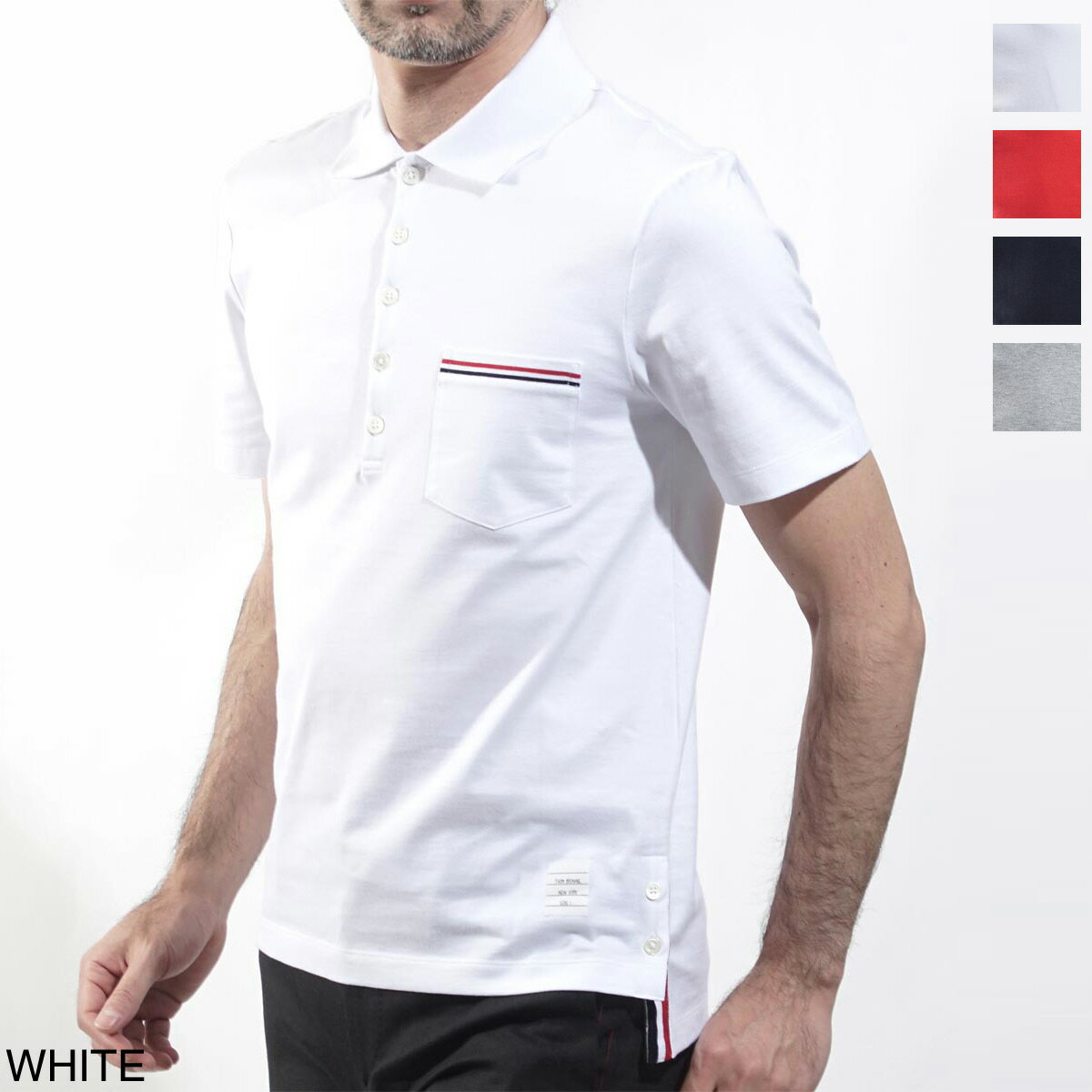 トップス, ポロシャツ 119 95950OFF THOM BROWNE. mjp060a 01454 100 SS POCKET POLO IN MEDIUM WEIGHT JERSEY COTTON