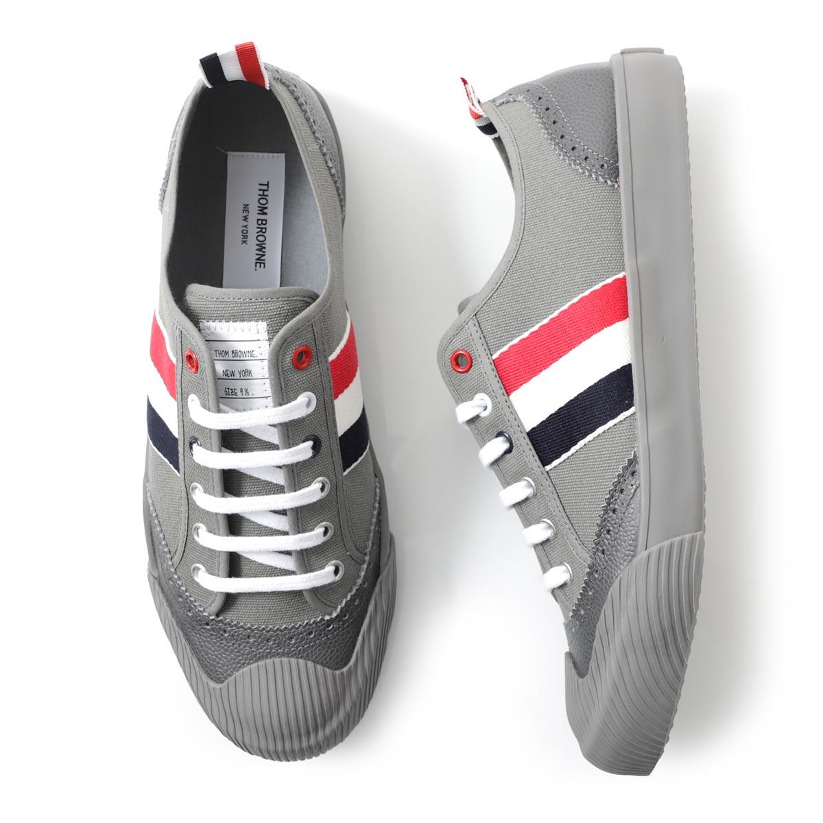 メンズ靴, スニーカー  THOM BROWNE. mfd140a 01588 025 LO-TOP VULCANIZED SNEAKER W BROGUING IN CANVAS