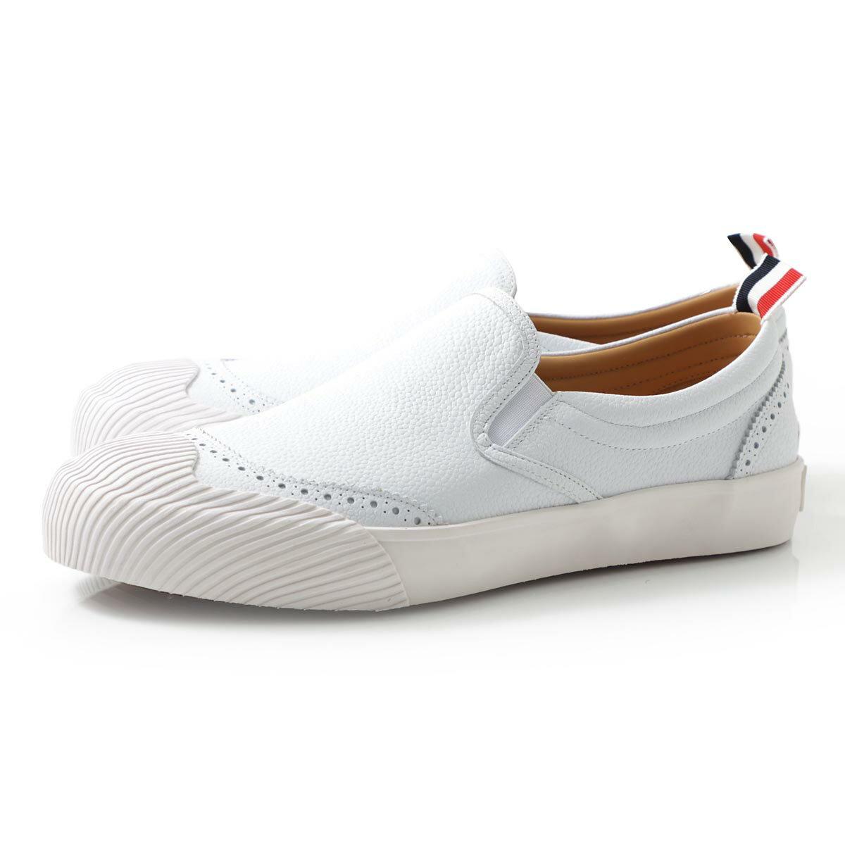 メンズ靴, スリッポン  THOM BROWNE. mfl047b 00198 100 SLIP-ON VULCANIZED SNEAKER W BROGUING IN PEBBLE GRAIN LEATHER