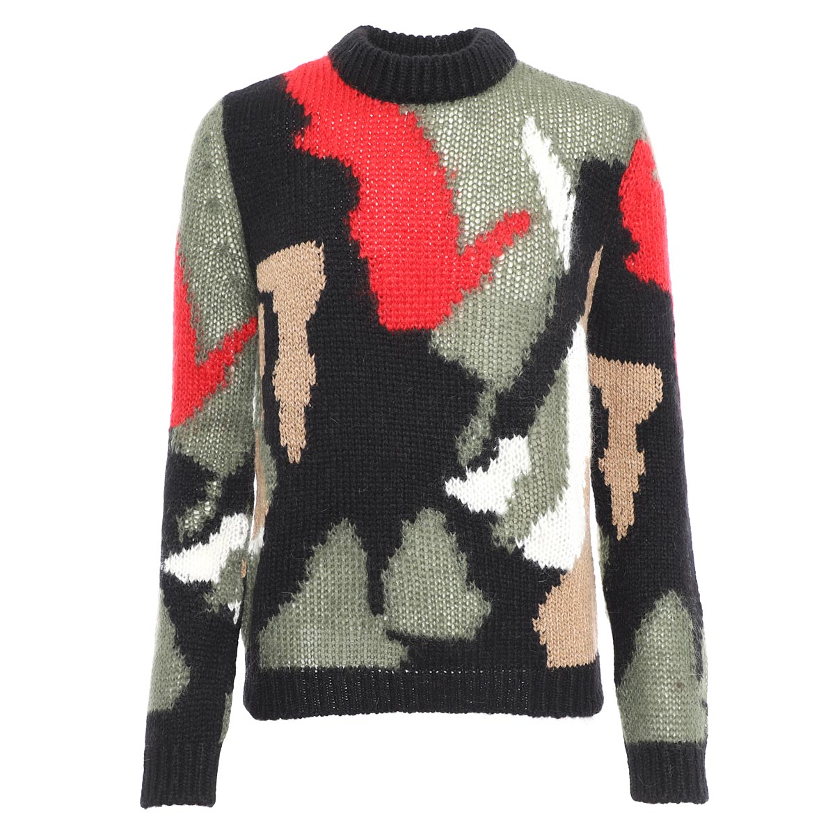 トップス, ニット・セーター  SAINT LAURENT PARIS 627313 yaqr2 1052 CAMO-PRINT SWEATER IN WOOL AND MOHAIR INTARSIA