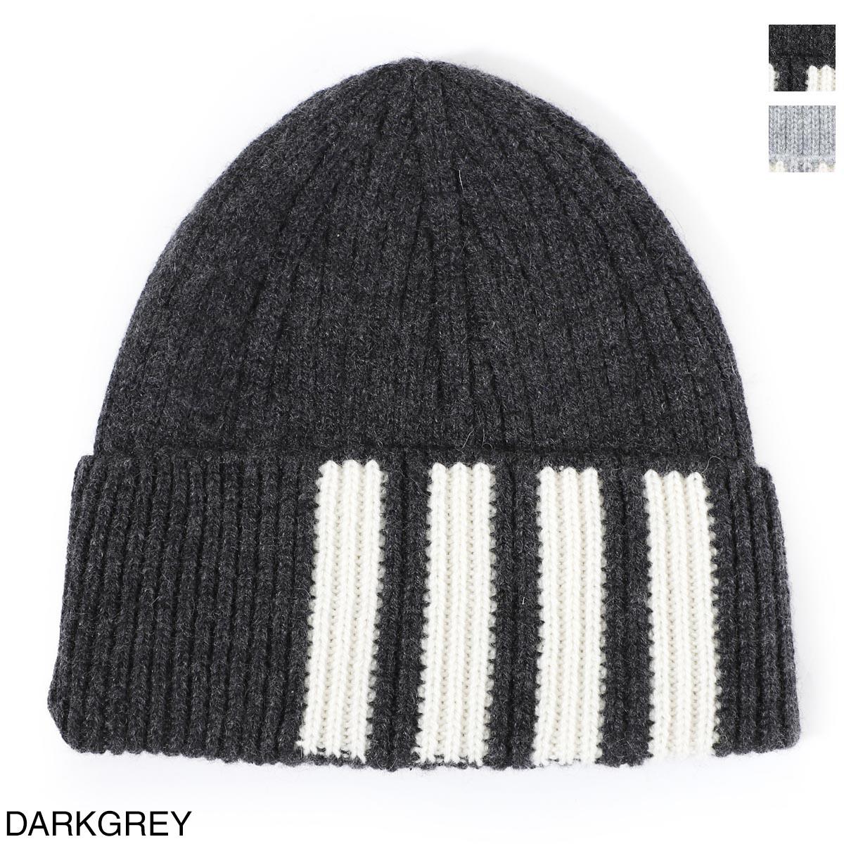 メンズ帽子, ニット帽  THOM BROWNE. mkh009a 00011 025 RIB HAT W4 BAR STRIPE IN CASHMERE