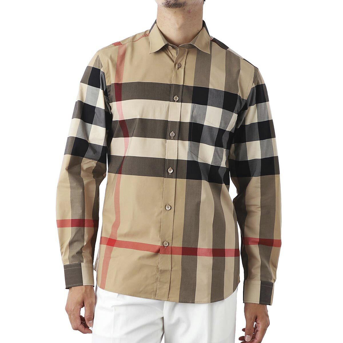 トップス, カジュアルシャツ  BURBERRY 8010213 archivebeige ip check CHECK STRETCH COTTON POPLIN SHIRT