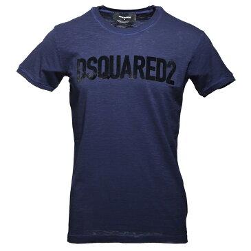 【訳あり】【Bランク】【アウトレット】ディースクエアード DSQUARED2 ラウンドネック Tシャツ ブルー メンズ s74gd0587 s22146 PRINT T-SHIRT【あす楽対応_関東】【返品交換不可】