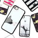 iPhone se2 ケース iPhoneXs iPhoneX ケース ソフトケース 猫 イラスト 女子 おしゃれ かわいい ボーダー しましま iPhone8ケース iPho..
