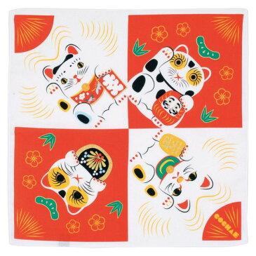48cm 福コチャエ 招き猫 コウハク 風呂敷(ふろしき)/山田繊維/20464-105【10P03Dec16】