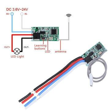 433MHz 1CH RFリレー受信機 ワイヤレススイッチマイクロモジュールLEDライトコントローラー DC 3.6V-24V