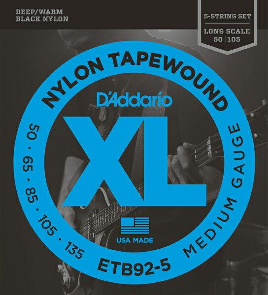 ベース用アクセサリー・パーツ, 弦 1DAddario 5 Nylon Tape Wound 5 StringLongETB92-5 RCP