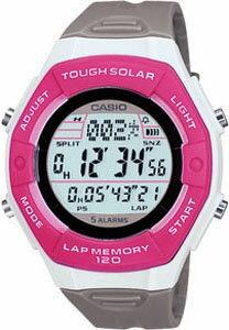 e34fd97098 カシオ スポーツウォッチ ランニングウォッチ 5気圧防水 ソーラー デジタル レディース かわいい 腕時計 ピンク (SD10AUP