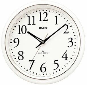 カシオ電波時計壁掛け時計アナログ掛け時計おしゃれなホワイト白文字盤アラビア数字(CL11FB03WHT)夜見やすいLEDライト付