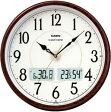 【送料無料】カシオ 電波時計 壁掛け時計 デジタル アナログ 掛け時計 アラビア数字(CL11AU01BRW) 日付・曜日 カレンダー 温度 湿度計付き カシオ CASIO 大型液晶 電波時計 掛け時計 おしゃれな木目調デザイン
