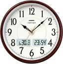 カシオ 電波時計 壁掛け時計 デジタル アナログ 掛け時計 おしゃれな 木目調デザイン ブラウン 茶 (CL11...