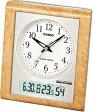 【送料無料】カシオ 電波時計 置時計 デジタル アナログ 目覚まし時計 日付・曜日 カレンダー(CL11OC03) 高輝度グリーン LEDライト付き カシオ CASIO おしゃれな白木目調デザイン 温度 湿度計付き 電波時計 目覚まし時計