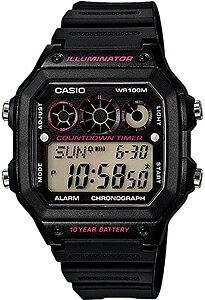 カシオ スポーツウォッチ 10気圧防水 デジタル 腕時計(A14FBP-201BLK) 10年電池 LED...