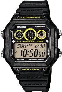 カシオ スポーツウォッチ 10気圧防水 デジタル 腕時計(A14FBP-202BKYE) 10年電池 LE...