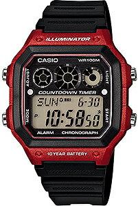 カシオ スポーツウォッチ 10気圧防水 デジタル 腕時計(A14FBP-204RED) 10年電池 LED...