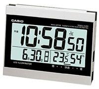 カシオ 電波時計 置時計 デジタル 目覚まし時計 おしゃれな シルバー 銀 (CL15JU13SLV) 見やすい 大型液晶 日付 曜日 カレンダー 温度 湿度計 アラーム スヌーズ機能 LED ライト付き CASIO 静かな 電波 置き時計 目覚まし時計