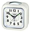 カシオ トラベルクロック コンパクト 置き時計 アナログ 目覚まし時計 おしゃれな ホワイト 白(S