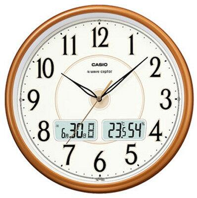 カシオ電波時計壁掛け時計デジタルアナログ掛け時計おしゃれなパールブラウン茶シンプル見やすいアラビア数字(CL15JU50)ホワイ