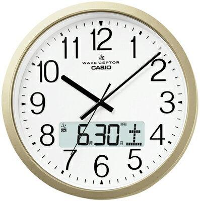 カシオ電波時計壁掛け時計デジタルアナログ掛け時計おしゃれなシャンパンゴールド(CL15JU51)見やすい大型液晶ホワイト白文字盤