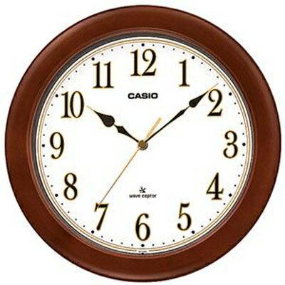 カシオ電波時計壁掛け時計アナログ掛け時計おしゃれな木目調デザインブラウン茶木枠ケースホワイト白文字盤(CL15JU56BRW)見