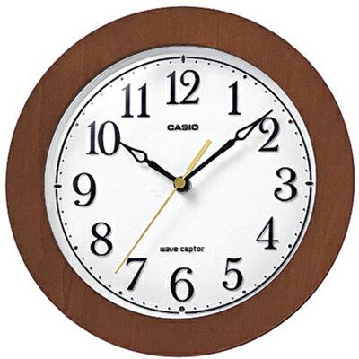 カシオ電波時計壁掛け時計アナログコンパクト掛け時計おしゃれな木目調デザインブラウン茶木枠ケースホワイト白文字盤(CL15JU57