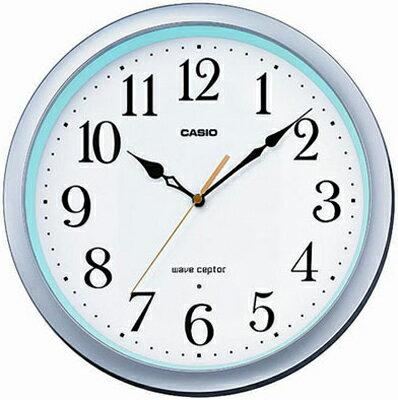 カシオ電波時計壁掛け時計アナログ掛け時計おしゃれなシルバー銀ケース(CL15JU59)見やすいアラビア数字ホワイト白文字板秒針音