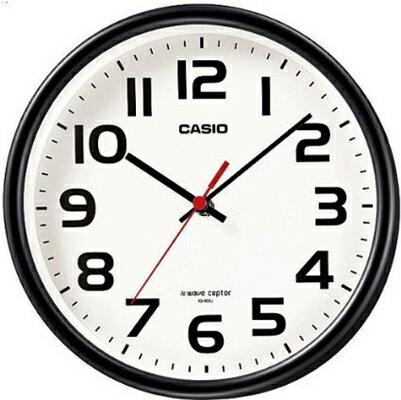 カシオ電波時計壁掛け時計コンパクトアナログ掛け時計おしゃれなブラック黒ケース(CL15JU60)シンプル見やすいアラビア数字ホワ