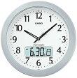 【送料無料】カシオ 電波時計 壁掛け時計 デジタル アナログ 掛け時計 シルバー 銀 アラビア数字(CL16JA01)日付・曜日 カレンダー 野鳥のさえずり時報 LEDライト付き 大型液晶 カシオ CASIO 電波時計 掛け時計