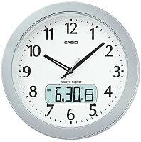 【電波時計】カシオ電波時計壁掛け時計デジタルアナログ掛け時計シルバー銀アラビア数字(CL16JA01)日付・曜日カレンダー野鳥のさえずり時報LEDライト付き