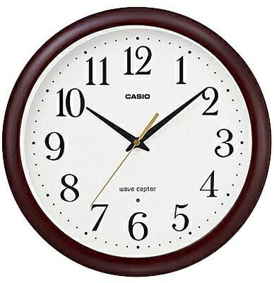 カシオ電波時計壁掛け時計アナログ掛け時計おしゃれな木目調デザインブラウン茶木枠ケースホワイト白文字盤(CL16JA02BRW)見