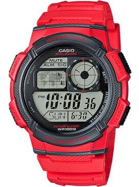 カシオ スポーツウォッチ 10気圧防水 メンズ デジタル 腕時計(AE16FBP-303RED)カウントダウンタイマー ストップウォッチ LEDライト付き ランニングウォッチ カシオ CASIO 海外限定 マラソン ランニング 時計 ランナー ウォッチ