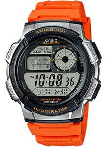 カシオ スポーツウォッチ 10気圧防水 ランニングウォッチ メンズ デジタル 腕時計(AE16FBP-304ORG)カウントダウンタイマー ストップウォッチ 10年電池 LEDライト付き CASIO 海外限定 マラソン ランニング 時計 ランナー ウォッチ ランニングウオッチ