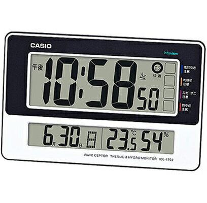 カシオ電波時計壁掛け時計デジタル掛け時計おしゃれなブラック黒ホワイト白ツートーン(CL16SP04)シンプル見やすい大型液晶日付