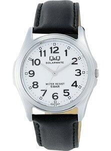 シチズン スポーツウォッチ 5気圧防水 メンズ ソーラー アナログ 腕時計 ドレスウォッチ(CBQ17D-001)アラビア数字 革ベルト ブラック 黒 レザー 合成皮革 革バンド マラソン ランニング 時計ドレスウォッチ 腕時計