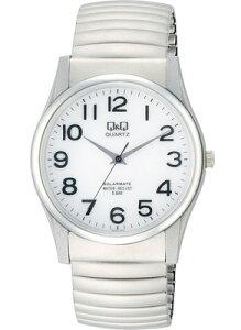 シチズン スポーツウォッチ 5気圧防水 メンズ ソーラー アナログ 腕時計 伸縮バンド(CBQ17D-005)ホワイト 白 文字板 アラビア数字 伸縮自在 エクスパンションバンド Q&Q MENS ANALOG マラソン ランニング 時計 アウトドア ウォッチ