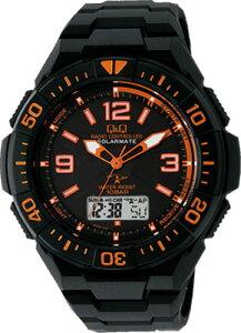 シチズン 電波時計 スポーツウォッチ 10気圧防水 メンズ ソーラー デジタル アナログ 腕時計 ダイバーズ(MDBQ13-008BKOR)回転ベゼル ストップウォッチ LED ライト付き 電波ソーラー マラソン ランニング 時計 ダイバーズウォッチ