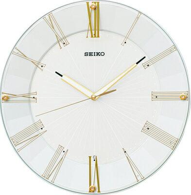 壁掛け時計電波アナログ掛け時計音がしない連続秒針スィープ秒針おしゃれなホワイト白パール塗装見やすいシンプル文字盤ローマ数字セイコ
