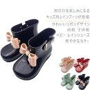 キッズレインブーツベビーレインシューズ雨靴子供靴幼児女の子小学生防水滑りにくい可愛いリボン軽量キッズ用レインブーツ4色選択可