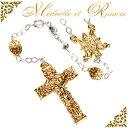 金色の十字架!ゴールドメダイの聖母マリアロザリオ★あす楽対応