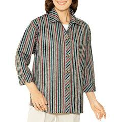 縦縞ですっきり仕立てたオープンカラーの7分袖シャツ!久留米織7分袖シャツ