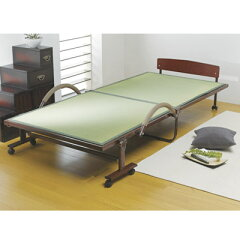 湿気がこもりにくくて衛生的!縁入りの正統派「畳表」竹炭シート入り い草折りたたみベッド