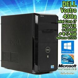 限定1台!★【中古】デスクトップパソコンDELL(デル)Vostro430aWindows10Corei78702.93GHzメモリ4GBHDD500GB+1TBGeForceGT220CORSAIR製電源CX500M搭載■KingsoftOffice(WPSOffice)付!【初期設定済】【送料無料(一部地域を除く)】