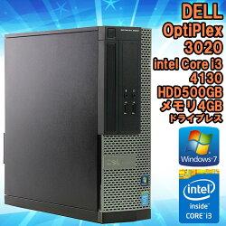【中古】デスクトップパソコンDELL(デル)Optiplex3020SFFWindows7Corei341303.40GHzメモリ4GBHDD500GBドライブレスWPSOffice(KingsoftOffice)初期設定済送料無料(一部地域を除く)