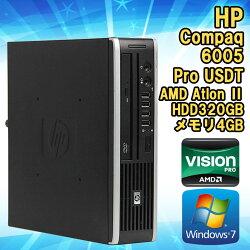 【中古】デスクトップパソコンHPCompaq(コンパック)6005ProUSDT(ウルトラスリム)Windows7AMDAthlonIIX2B243.00GHzメモリ4GBHDD320GBDVD-ROMドライブWPSOffice初期設定済送料無料エイチピー