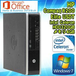 MicrosoftOfficeHome&Business2013セット【中古】デスクトップパソコンHPCompaq(コンパック)8200EliteUSDT(ウルトラスリム)Windows7CeleronG5302.40GHzメモリ4GBHDD320GBDVD-ROMドライブ初期設定済送料無料ヒューレット・パッカード