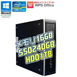 WPSOffice付【中古】デスクトップパソコンHPCompaq8200EliteSFFWindows10ProCorei7vPro26003.40GHzメモリ16GBSSD240GBHDD1TBDVDマルチドライブ新品爆速SSDモデル!在宅ワーク初期設定済90日保証中古パソコン