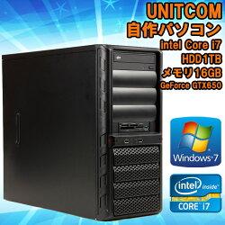 ★限定1台【中古】UNITCOM(ユニットコム)デスクトップパソコンBTO自作パソコンWindows7第3世代Corei737703.40GHzメモリ16GBHDD1TBGeForceGTX650★KingsoftOffice(WPSOffice)付き!【送料無料(一部地域を除く)】