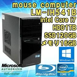 【中古】デスクトップパソコンmousecomputerLM-iH541BWindows10Corei737703.4GHzメモリ16GBHDD1TBSSD120GBグラボGeForceGTX660BDドライブWPSOffice付き初期設定済送料無料(一部地域を除く)