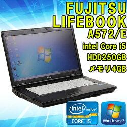 【中古】ノートパソコンFUJITSU(富士通)LIFEBOOKA572/EWindows715.6インチ(1366×768)Corei53320M2.60GHzメモリ4GBHDD250GB■KingsoftOffice付!(WPSOffice)【初期設定済】【送料無料(一部地域を除く)】【無線LAN内蔵】【HDMI付き】
